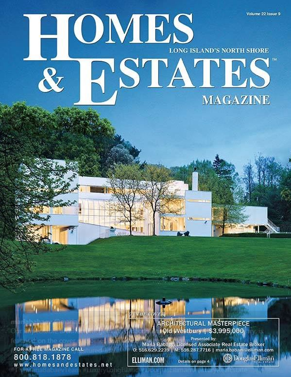 Architectural Gem at 73 Bacon Road in Old Westbury Graces the cover of Homes & Estates Magazine