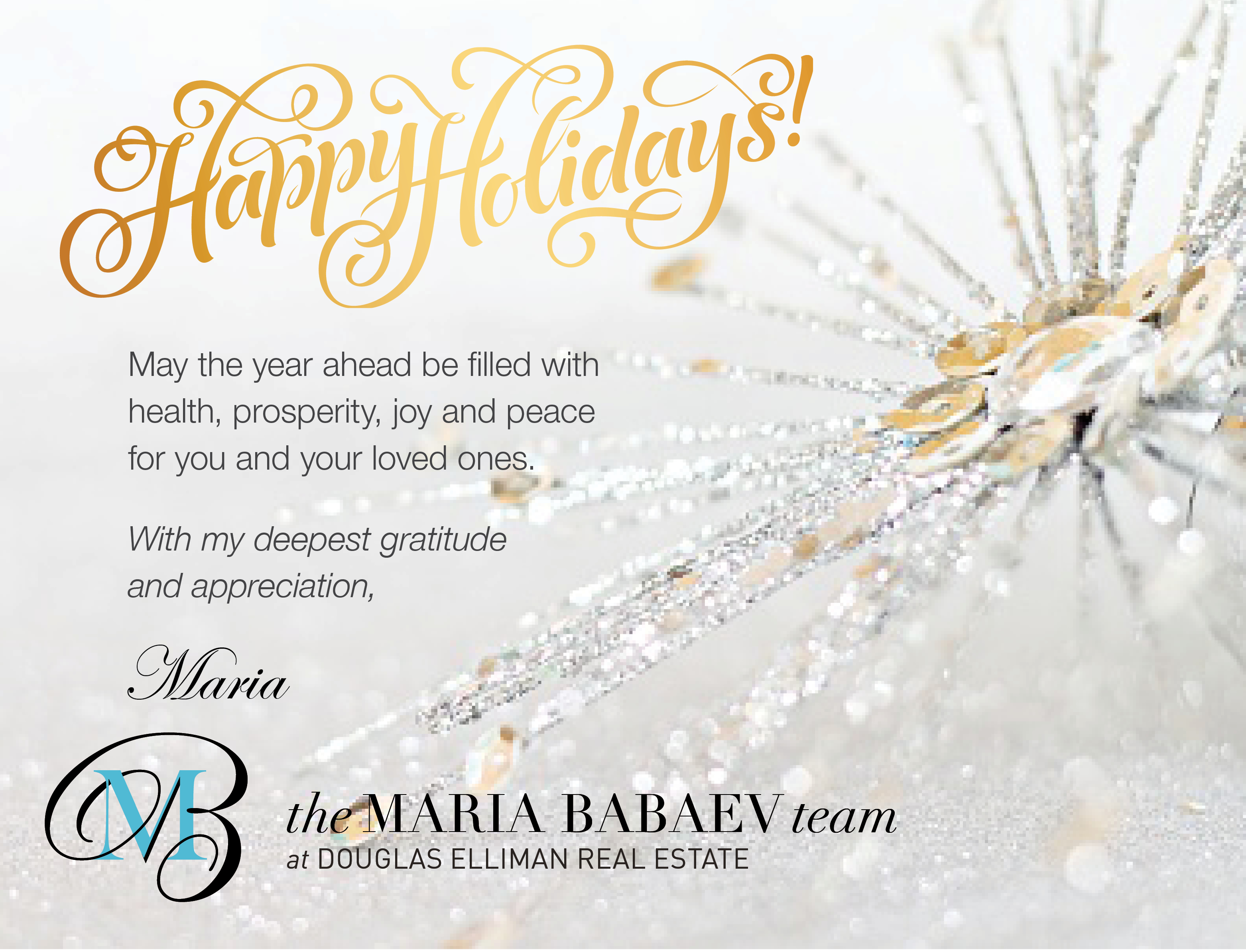 Happy Holidays From The Maria Babaev Team!